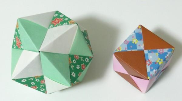 折り紙くす玉と立方体
