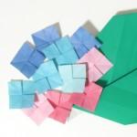 折り紙 あじさいの花と葉の折り方【梅雨・6月の花】
